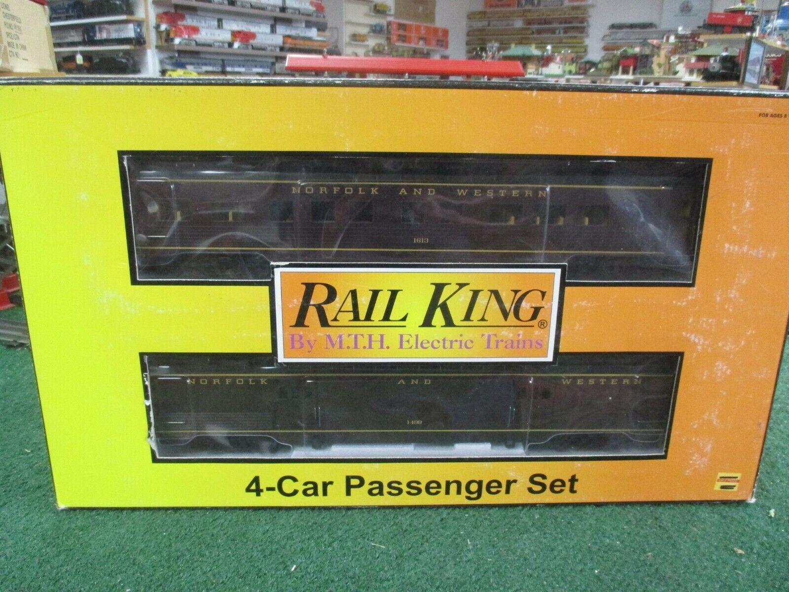 MTH 30-67061 NORFOLK & WESTERN 60' STREAMLINED 4 PASS CAR SET C8L N IN ORIG BOX