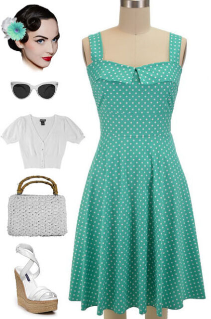 50s Style PLUS SIZE MINT with White POLKA DOT Fold Over Bust PEGGY SUE Sun Dress