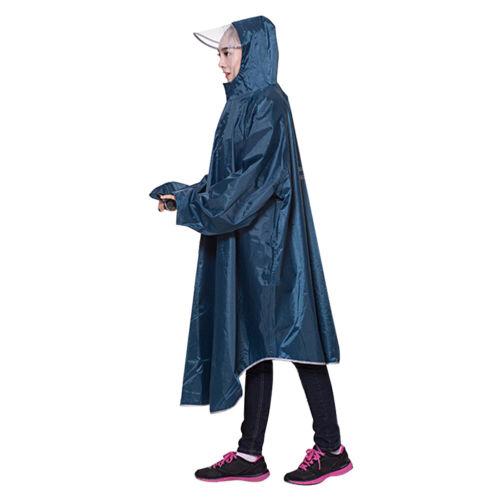 Waterproof Travel Bike Cycling Raincoat Rain Cape Poncho Coat Hooded w// Snaps UK