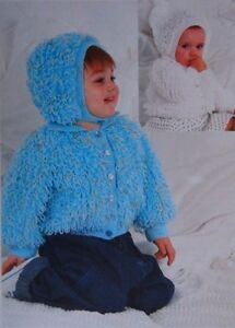 Knitting Pattern For Baby Loopy Jacket : BABY~ LOOPY JACKET~BONNET ~ ~ KNITTING PATTERN MONTHS 20-24