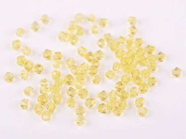 200x Wholesale 4mm Bicone Faceted Crystal Glass Loose Spacer Beads Lemon Yellow