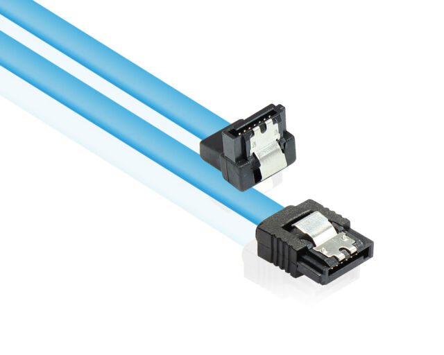 SATA Kabel S-ATA 600 III 6 Gb/s High Speed gewinkelt 2x Verriegelung 0,3 m blau
