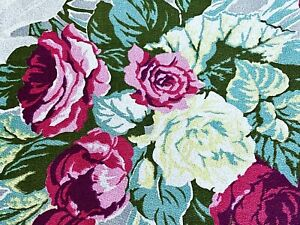 SALE-Dorothy-Draper-Floral-Barkcloth-Vintage-Fabric-Drape-Curtain-30-039-s-Cottage