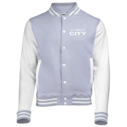 100/% manchester city fan varsity jacket kids