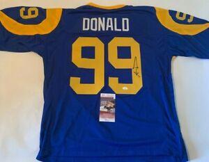 Aaron Donald Autographed Los Angeles Rams Throwback Blue Jersey JSA COA