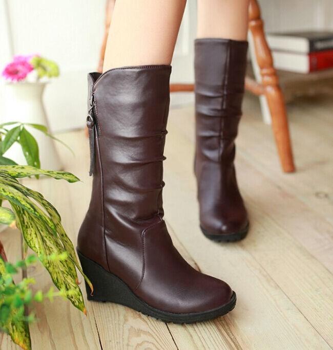 Bottes hiver confortable élégant femme compensé 4.5 cm comme cuir marron 8825