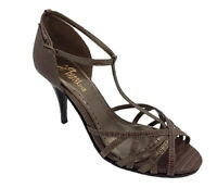 Ladies Shoes Pierre Fontaine Murcia Strappy Heels Brn/brnz Lizard Size 7 8
