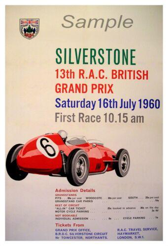 VINTAGE 1960 BRITISH GRAND PRIX SILVERSTONE A4 POSTER PRINT