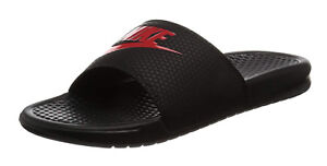 best sneakers 27a62 c2529 Image is loading Nike-Benassi-JDI-Black-Challenge-Red-Slides-Sports-