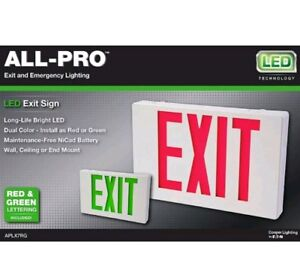 All-Pro-Exit-Emergency-Light-Ap-Series-2-Color-Red-Green-LED-Exit-Sign
