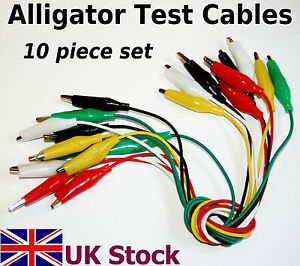 Alligator-Crocodile-Test-Cables-Leads-Clips-10-piece-set-UK-Stock
