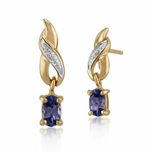 9ct-Yellow-Gold-0-42ct-Tanzanite-amp-Diamond-Classic-Drop-Earrings
