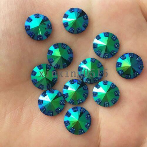 40PCS 12mm AB Resin Round rhinestone Flatback scrapbooking for phone//DIY buttons