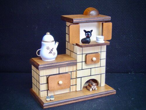 Holz Ofen Räucherhaus Räucherfigur Räuchermann Räucher Kachelofen Katze 40606