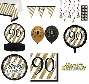 Image Is Loading BLACK Amp GOLD Age 90 Happy 90th Birthday
