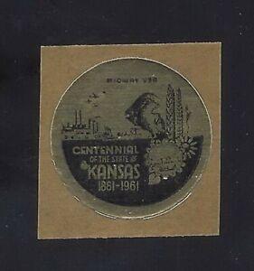 1961 - Kansas Centennial 1861-1961 Cinderella Poster Self-Adhesive Stamp/Label