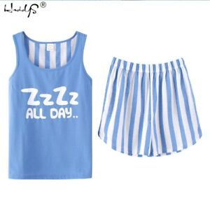 Women-039-s-Pajama-Set-Tank-Top-Short-Pants-Summer-PJ-Sleepwear-Sleeveless-Nightwear