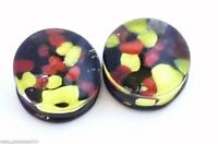 PAIR-Pyrex Glass Black/Red/Yellow Double Flare Plugs 10mm/00 Gauge Body Jewelry