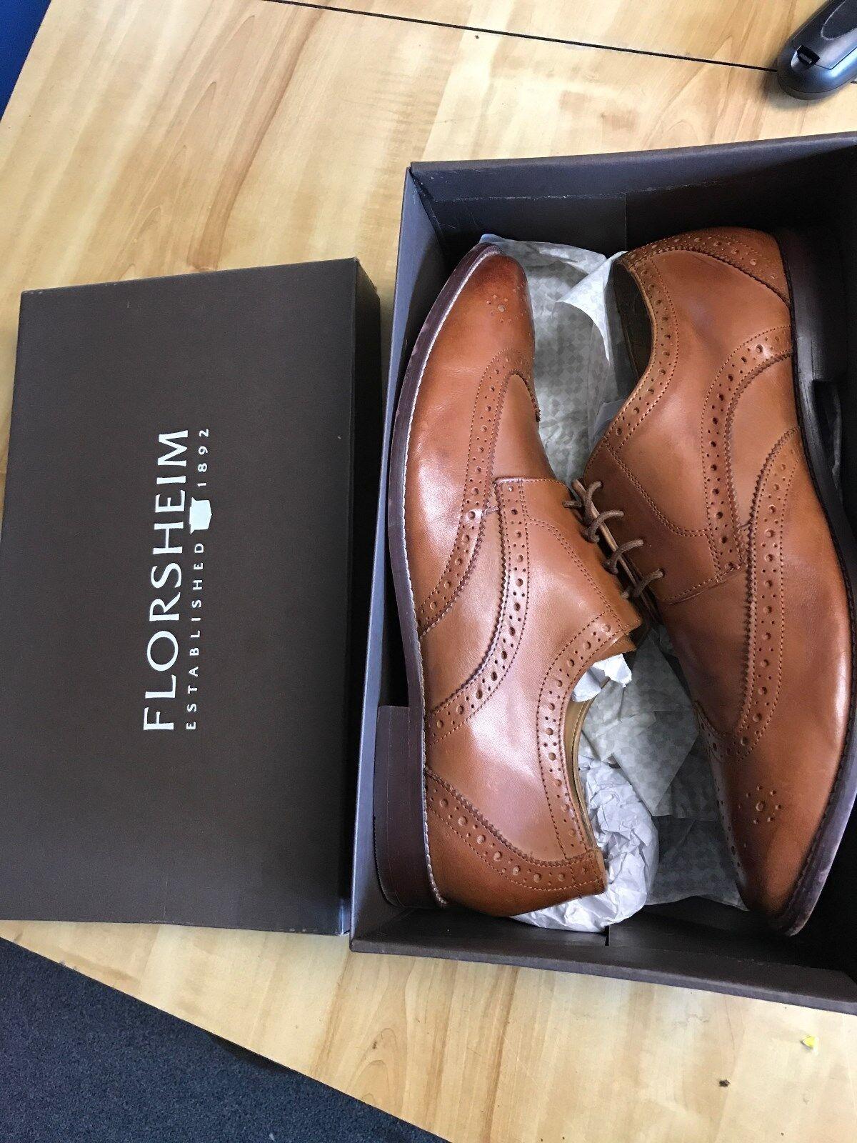 Florsheim Montinaro saddle tan 13 D wing tip leather dress shoes