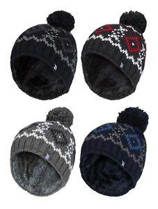 Heat-Holders-Homme-Tricot-Chaud-Polaire-Hiver-Ski-Bonnet-Chapeau-avec-Pompon