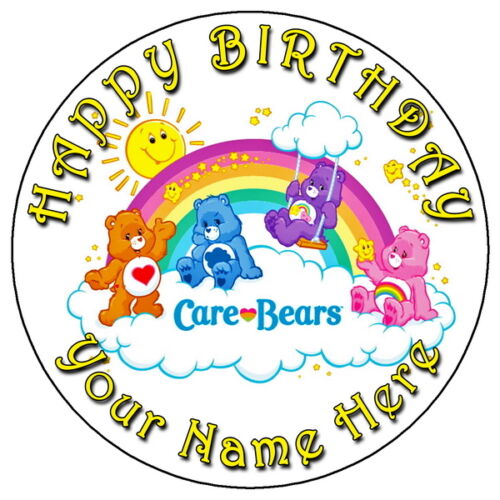 CARE BEARS PARTY - 7.5 PERSONALISED ROUND EDIBLE ICING CAKE TOPPER