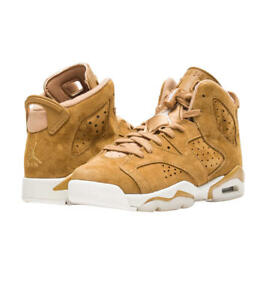 f26638ba7be2 Image is loading Air-Jordan-Retro-6-Shoes-Wheat-Juniors