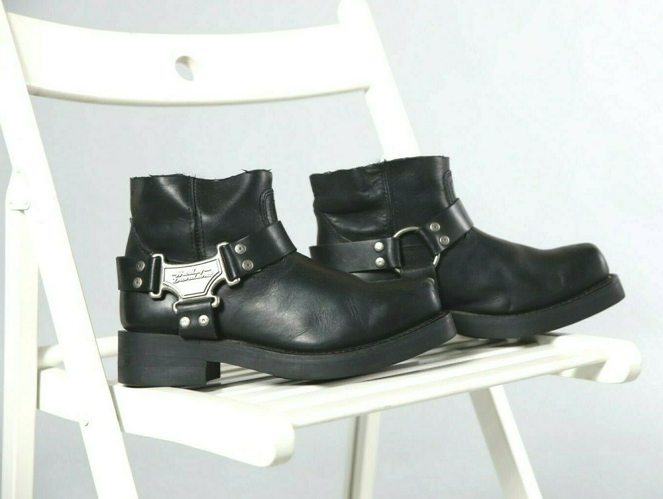 HARLEY DAVIDSON BLACK REWORKED HARNESS BOOTS WITH HARLEY ICONIC STUDS AND BUCKLE