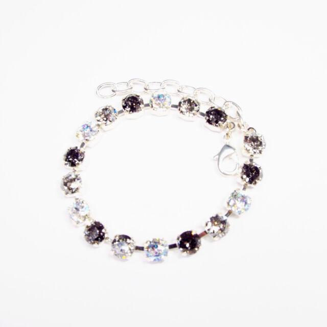 Damen Armband Tennis 925 Versilbert Swarovski Kristalle Schwarz Weiß Silber
