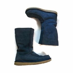 UGG downtown blue suede leather and sheep skin tall boots Size 7
