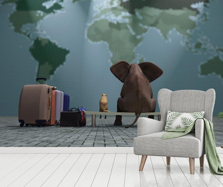 Vlies Tapete XXL Poster Fototapete Elefant Hund Weltreise