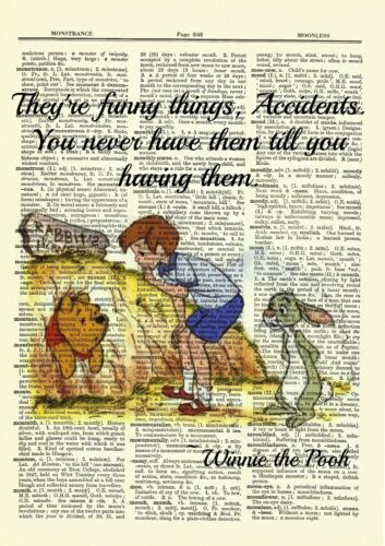 Winnie the Pooh Dictionary Art Print Picture Rabbit Hole Christopher Robin Quote
