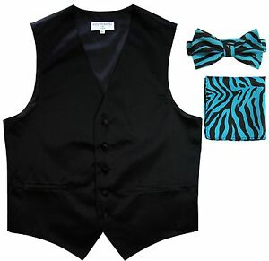 New Men's Formal Vest Tuxedo Waistcoat Turquoise ZEBRA Bowtie Hankie set wedding