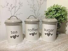 3 Piece Cream Heart Kitchen Tea  Coffee Sugar Storage Canisters