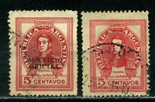 1945 Argentina 2 of  San Martin SG 773 one Ovpt. SERVICIO OFICIAL  Used