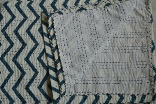 Queen Size Hand Block Indian Hand Block Striped Kantha Quilt Cotton Bedspread**