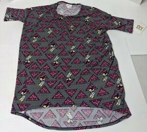 Lularoe-XXS-Disney-Irma-Tunic-Top-Gray-with-Minnie-Mouse-womens-shirt-NWT-Pink