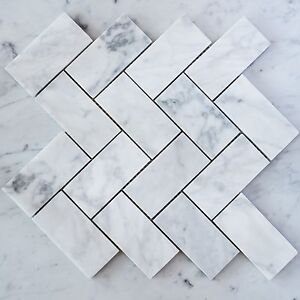 Image Is Loading Carrara Marble Herringbone Large Mosaic Tiles Sheet