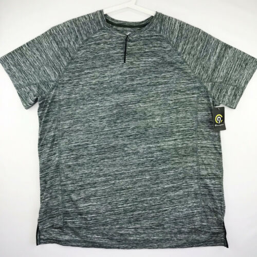 Champion C9 Mens Size XXL Duo Dry Athletic Short Sleeve Snap Shirt Gray Green