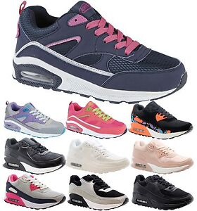 Ladies Women Sports Running Fitness Gym Air Shock Absorbing Trainers Shoes Size