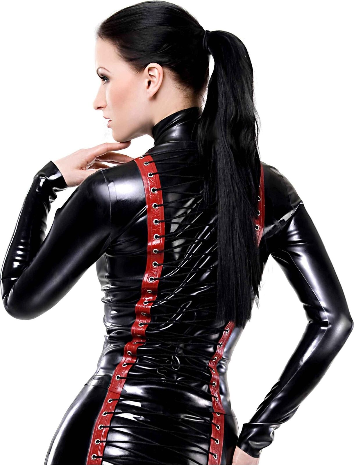 Westward Bound X-Treme Latex Top schwarz with rot Trim