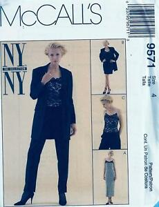McCall-039-s-9571-Pattern-Misses-039-Petite-able-Lined-Dress-or-Top-Jacket-Pants-sz-4