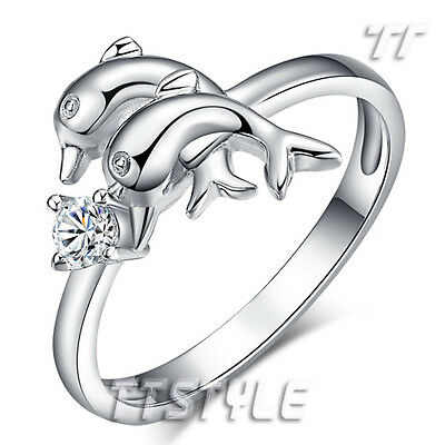 Lovely TT Solid RHODIUM 925 Sterling Silver Double Dolphin Ring (RW32)