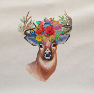 Deer-Stag-Flowers-Animal-Wilflife-Fabric-Panel-Cushion-Upholstery-Craft
