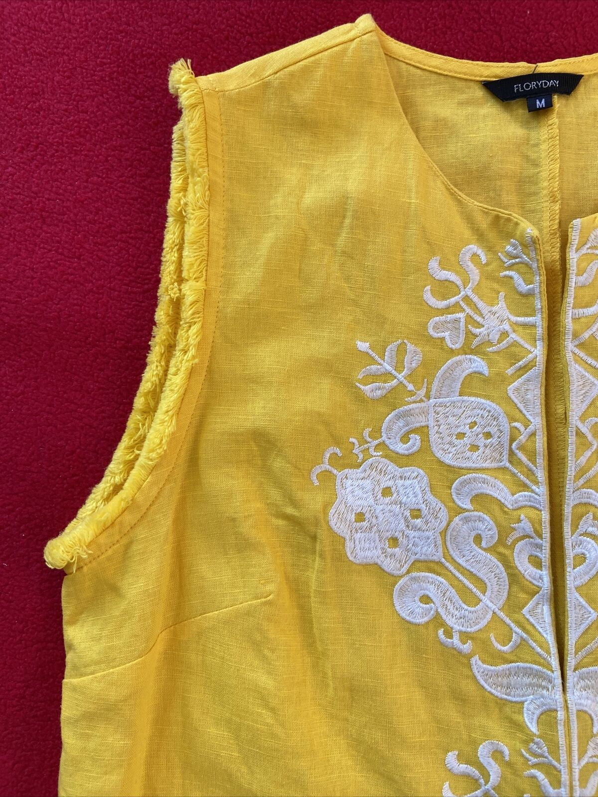 floryday bright yellow linen shift dress size med… - image 4