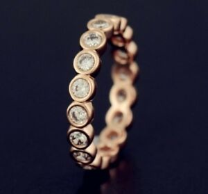 2d2472aa8 Image is loading GENUINE-S925-ROSE-GOLD-ALLURING-BRILLIANT-PETITE-STACKING-