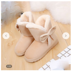 Women Ankle Snow Boots Cute Bowtie Autumn Winter Boots