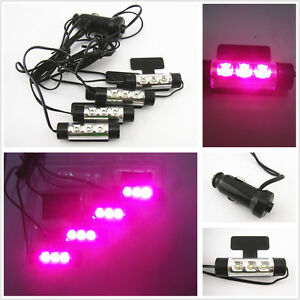 4 x purple pink led car charge interior floor decorative atmosphere lights lamp ebay. Black Bedroom Furniture Sets. Home Design Ideas