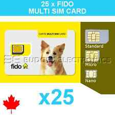 25 pcs Fido Triple Format Nano Micro Standard Multi Sim Card Wholesale Bulk