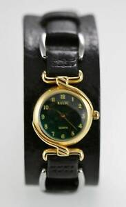 Relic Watch Womens Green Black Leather Stainless Gold Steel Water Resist Quartz