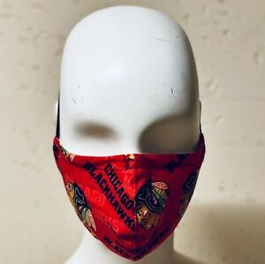 Handmade Chicago Blackhawks Cotton Face Mask Filter Pocket Filters Washable Ebay